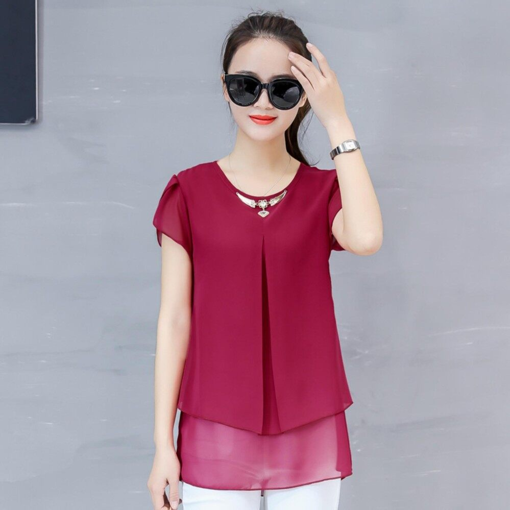 Moon Sunday Women's Plain O-Neck Short Sleeve Casual Fashion & Bohemia Summer Chiffon T-shirt Top & Blouse T Shirt Women Shirt for Holiday & Beach Free Shipping China Spring Festival Lucky เสื้อเบลาส์และเสื้อเชิ้ต
