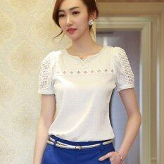 5c684327384e6 Moon Sunday Women's Cut Out Short Sleeve Fashion Solid Color Plus Size  Loose Casual Chiffon T