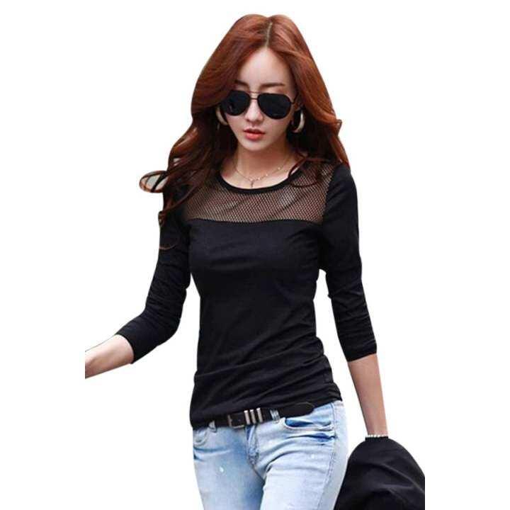 Moonar lace mesh long sleeve t shirts black lazada for Mesh long sleeve t shirt