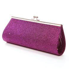 Moonar Lady Shiny Glitter Clutch Bag Purse Party Banquet Handbag Hasp Shoulder Bag (Purple)