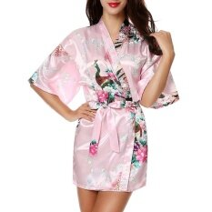 Moonar Sexy Women Silk Print Kimono Gown Half Sleeve Sleepwear Cardigan Bath Robe ( Pink ) By Moonarstore.