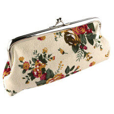 Moonar Women Canvas Flower Rose Printed Clutches Wallet Purse (White) - Intl