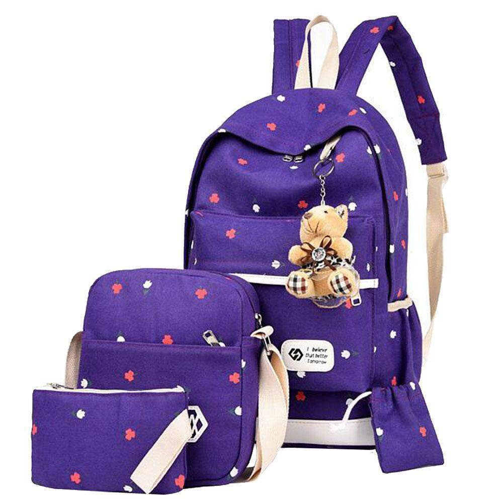 moppm Girl's Casual Light-weight Canvas School Backpacks Bookbag Shoulder Bags for Back to Middle