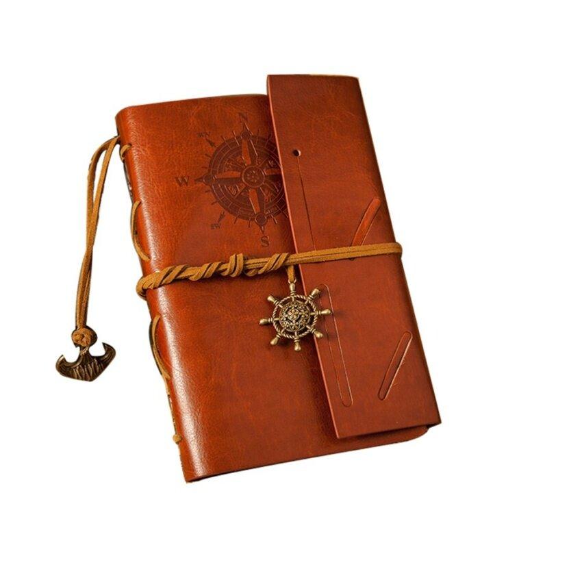 Mu Gaya Antik Jangkar dan Kemudi Dihiasi Notebook Penutup Pu Traveldiary Sketchbook Coklat-Internasional