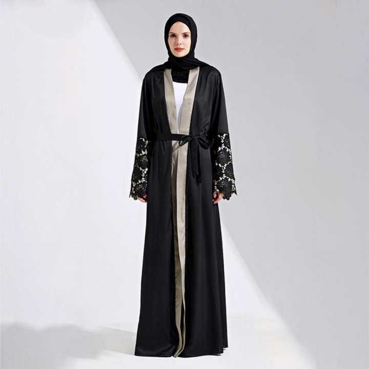 Muslim Maxi Dress Open Abaya Lace Jilbab Belt Long Robe Gowns Cardigan Ramadan Kimono Thobe Islamic Clothing