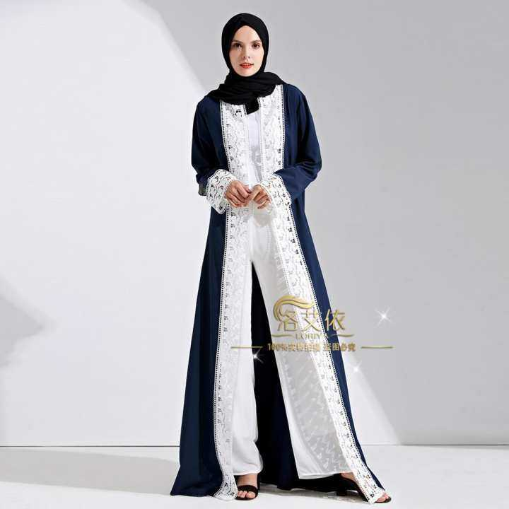 Muslim Women Abaya Lace Long Robe Cardigan Islamic Maxi Dress Ramadan Patchwork Kimono Thobe