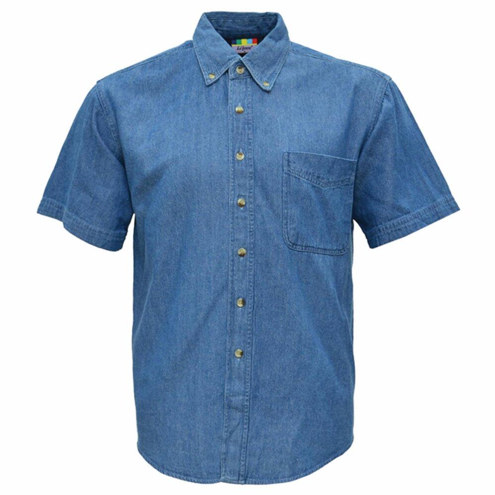 f4d34b52b44 Short Sleeve Casual Jean Denim Shirt with Front Pocket - Men (100% Cotton)