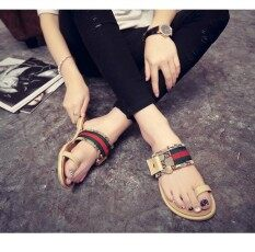 Je&fe Large Size Shoes Europe And The United States Flat Slippers Metal Buckle Korean Low-Heeled Toe Female Sandals And Slippers Womens Shoes By Je&fe.