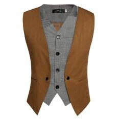 Fashion Men Casual Slim Sleeveless V Neck Single Breasted Faux 2-Piece Vest Waistcoat Gilet – intl