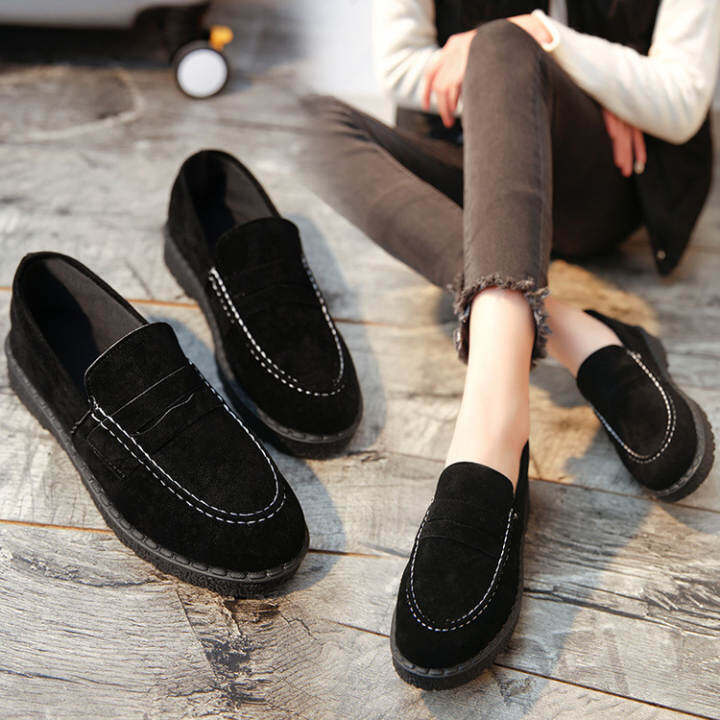Gentlemen/Ladies - New 2017 Snow Low Heel Heel Heel Loafers(Plu Black) Women Round Toe Shrt Boo Female Lazy Shoes Solid Color Matte Leather Flat Shoes  - Easy-To-Clean Surface a44fb6