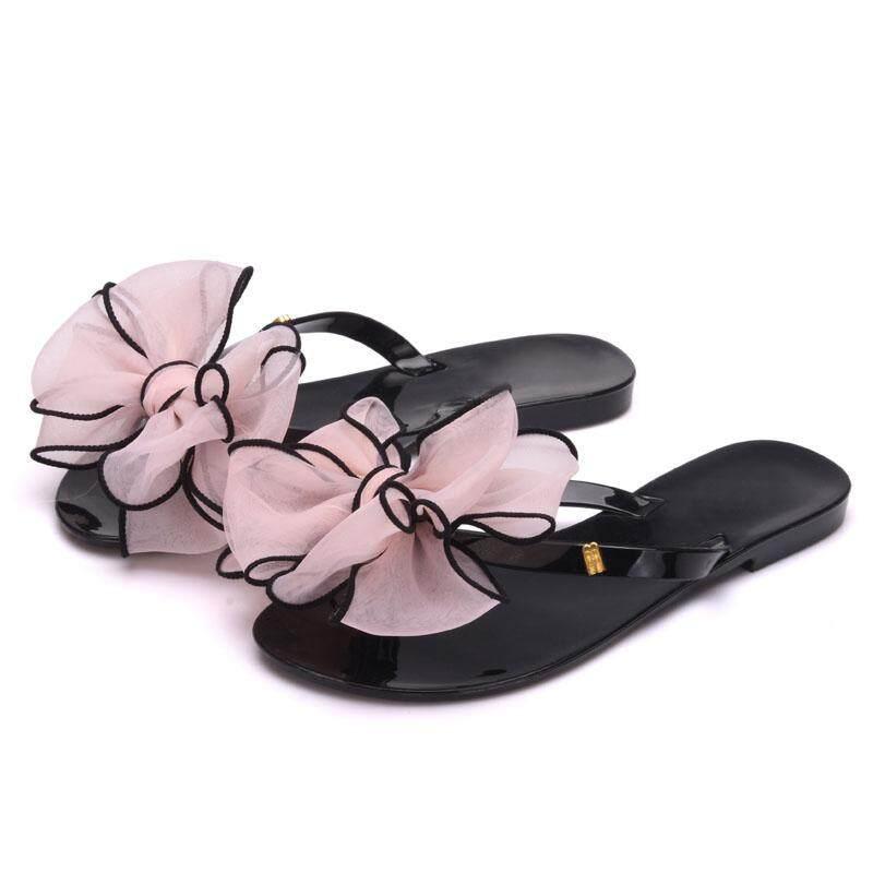 Baru 2018 Busur Wanita Datar Sandal Musim Panas Gaya Permen Warna Sandal Jepit Sepatu Wanita Jeli