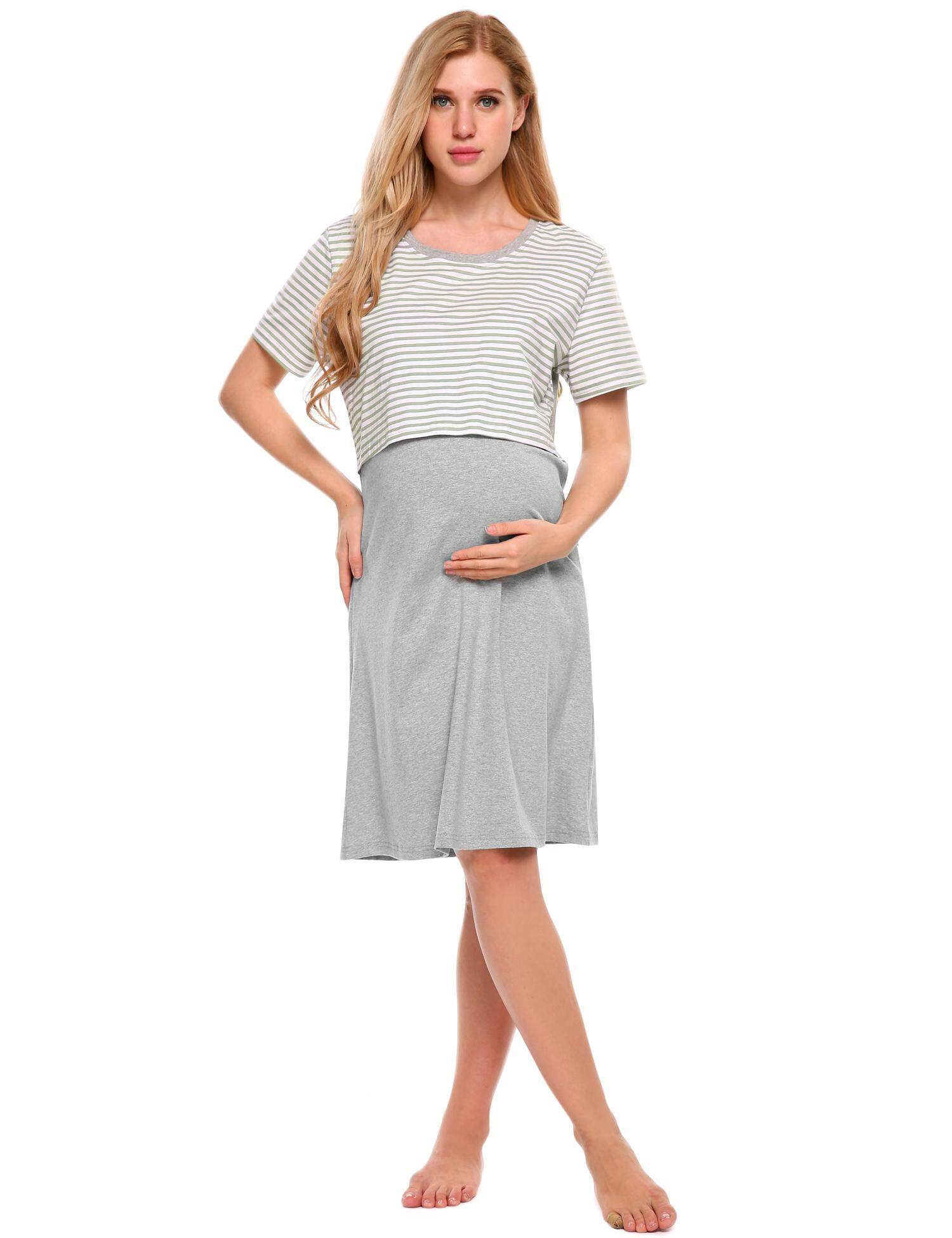 How To Get New Arrival Astar Women Maternity Nightgown Nursing Dress Short Sleeve Striped Lounge Sleepwear Intl