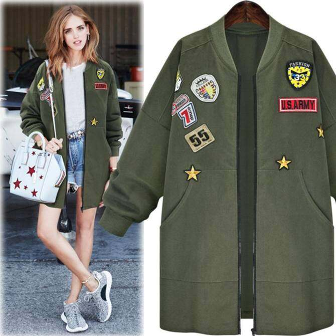 f681d8c3e New Arrival Autumn Womens Bomber Jecket Plus Size 3D Print Zipper Fashion  Patched Badges Long Baseball