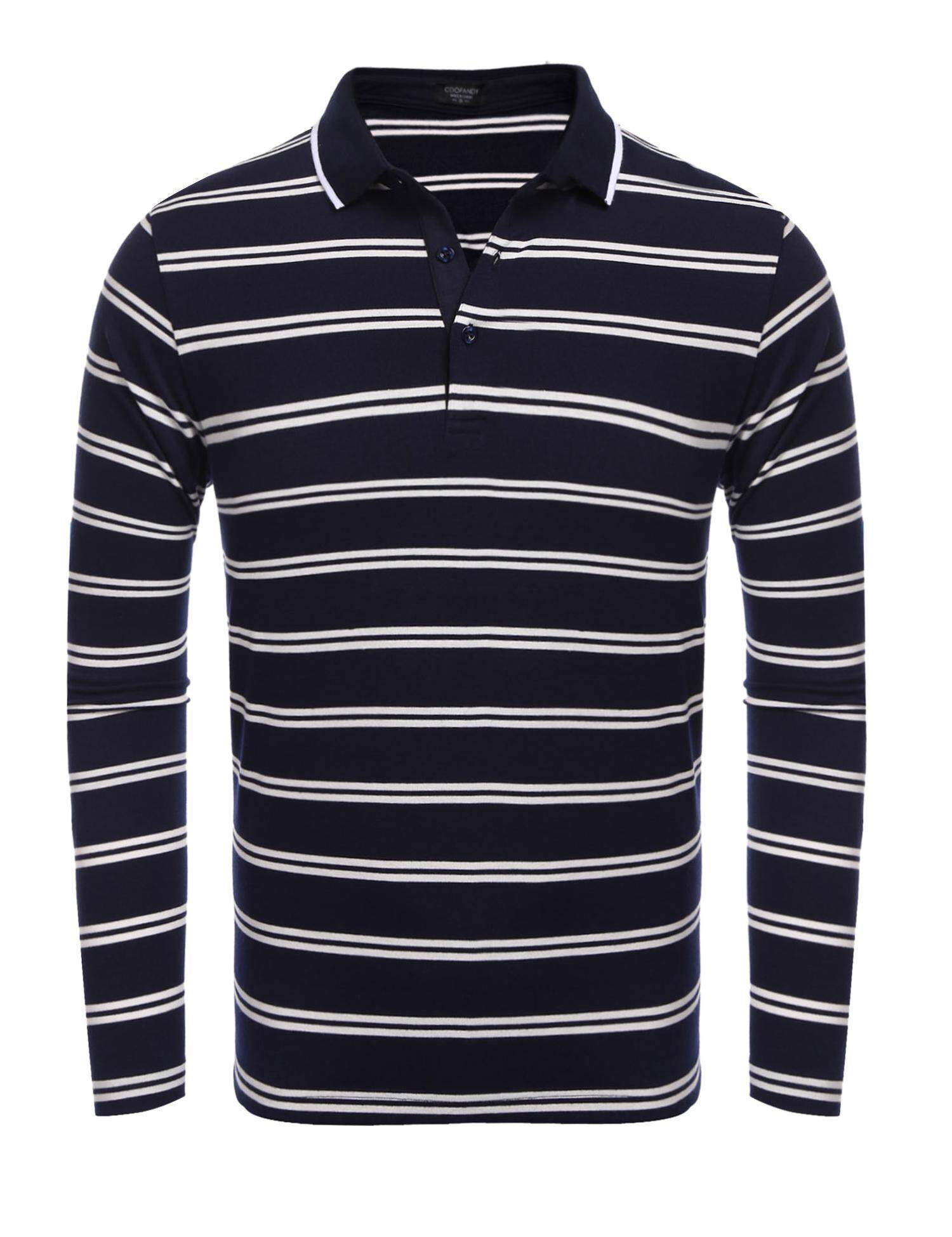 New Arrival Sunwonder Men Casual Polo Shirt Long Sleeve Contrast Color Striped T Shirt(Blue) - intl