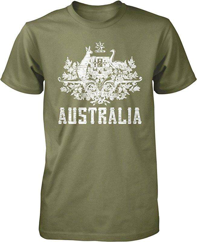 New Australia Coat Of Arms South Wales Victoria Queensland Custom Fashion Army Green Custom Fashion Causal Cotton Mens Short Sleeve O-Neck T Shirts - intl