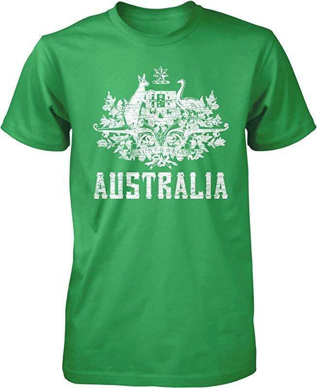 New Australia Coat Of Arms South Wales Victoria Queensland Custom Fashion Brown Custom Fashion Causal Cotton Mens Short Sleeve O-Neck T Shirts - intl