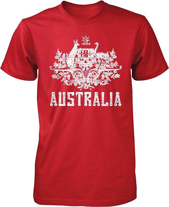New Australia Coat Of Arms South Wales Victoria Queensland Custom Fashion Red Custom Fashion Causal Cotton Mens Short Sleeve O-Neck T Shirts - intl