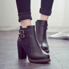Woman Martin Boots High Heel Zip Buckle Platform Shoes Slope Ankle Boots Outdoor