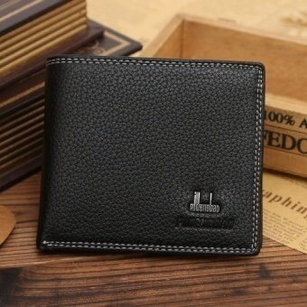 New Business Style Men PU Leather Wallets Embossed Litchi Grain Money Purse Short Mini Double Thread