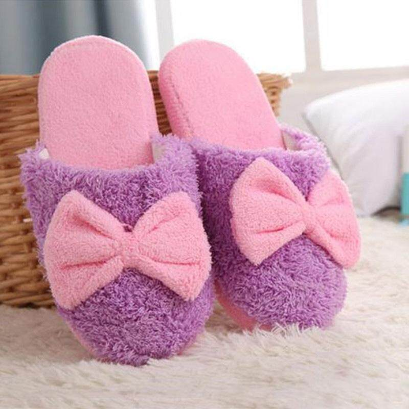 New Cute Velvet Women Lady Home Anti Slip Bowknot Slippes Indoor Shoes Sofe Warm PURPLE -