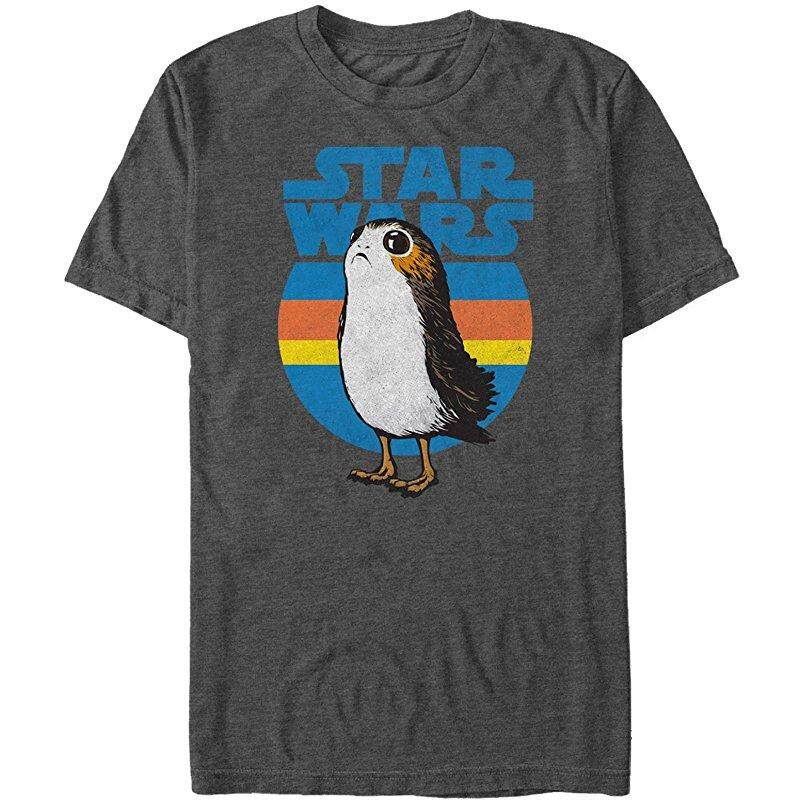 Coupon New Fashion Funny Print The Last Jedi Retro Porg Graphic Causal 100 Cotton Mens Short Sleeve T Shirts Charcoal Intl