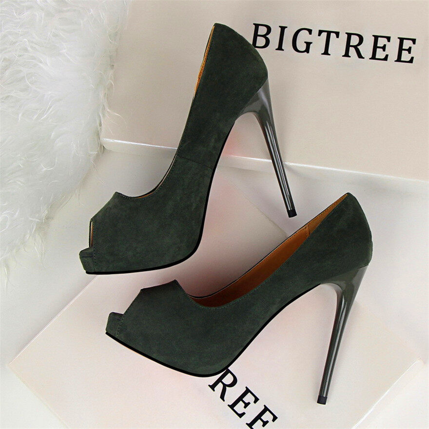 Mode Terkini Pantofel Wanita Sepatu Hak Tinggi Ringkas Solid Kumpulan Sepatu Hak Tinggi 12 Cm Sepatu Wanita Ujung Kaki Mencicit Dangkal Seksi Sepatu Pesta-Intl