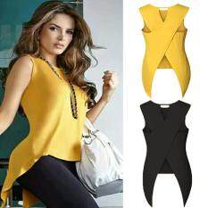91c6727513 New Fashion Sexy Women Summer Sleeveless Chiffon Back Cross T-Shirt Tops  Basic T Shirt
