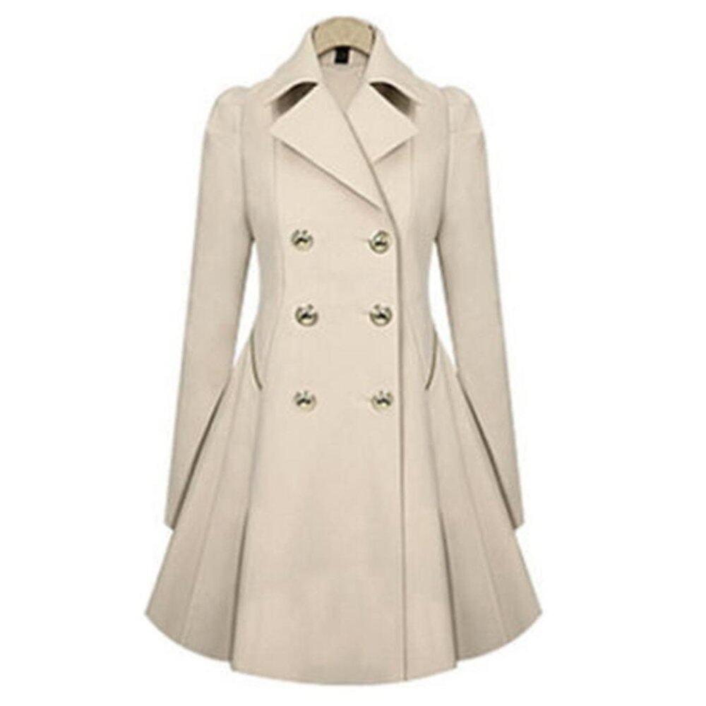 New Fashion Women Casual Slim Long Wind Jacket Lapel Trench Outwear Coat