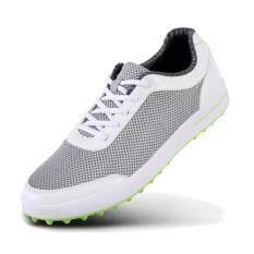 Baru Sepatu Golf Pria Sepatu Sepatu Kasual Olahraga Sneakers Kain Jaring  Berpori Ukuran Plus (Abu 98c81bcaba