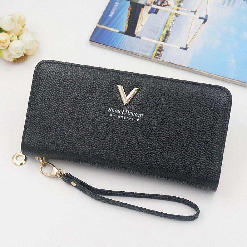 New Korean Ladies Wallet New Handbag Long Zip Wallet Lychee Pattern Women's Cash Registers Dompet Wanita