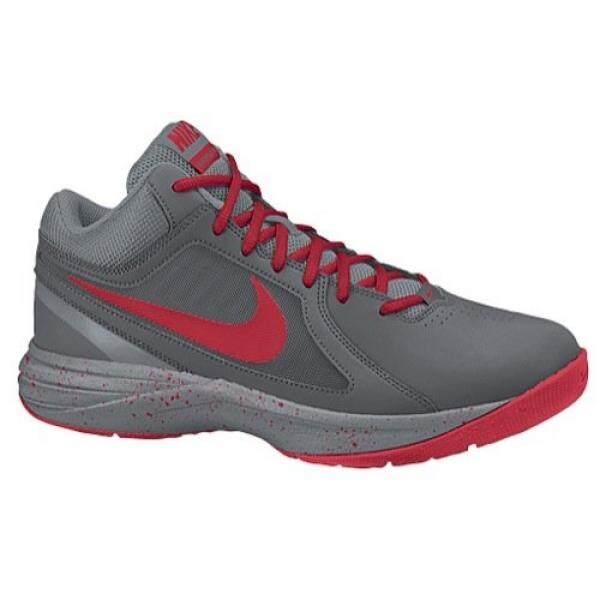 New Nike Mens The Overplay VIII Basketball Shoe Grey/University Red 7.5 - intl
