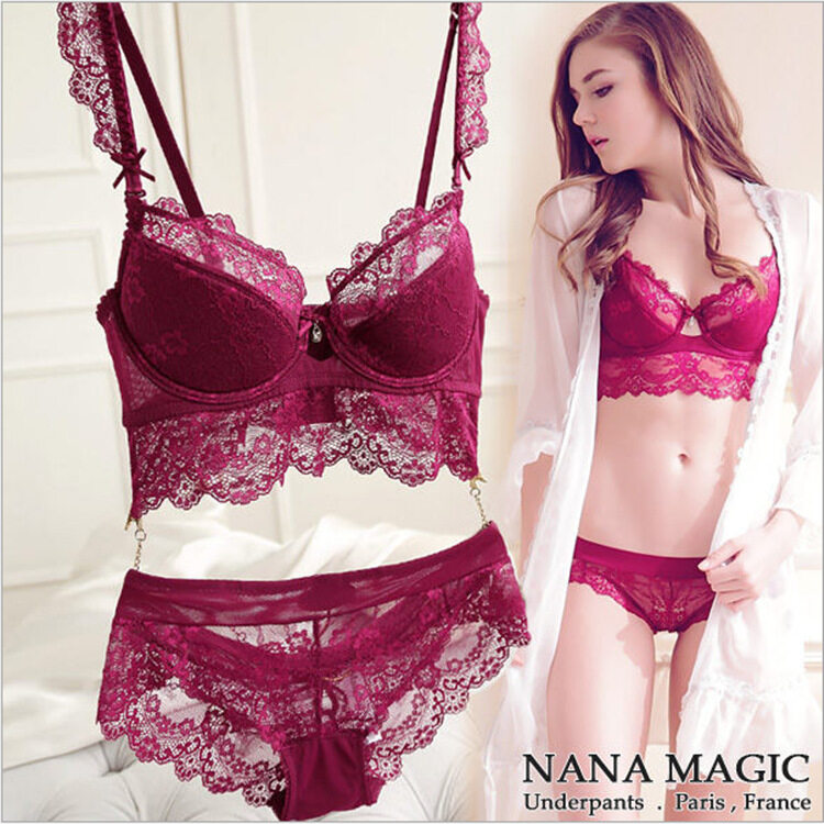 79173cba74179 Rainbow Site Newest Winter Wine Red Lace Bra Adjustment Ultra-thin Side  Gathering Push Up
