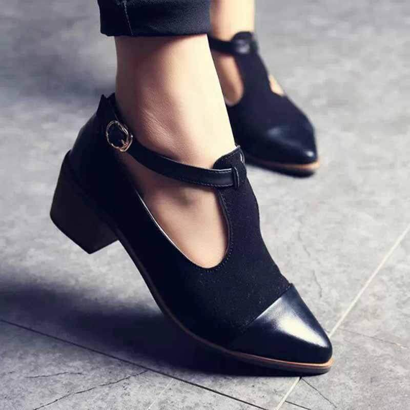 New Spring Womens Girls Pointed Toe Mid Heels Shoes British Vintage Block Heels Women Shoes Velvet Leather Color Black By Rongsheng.