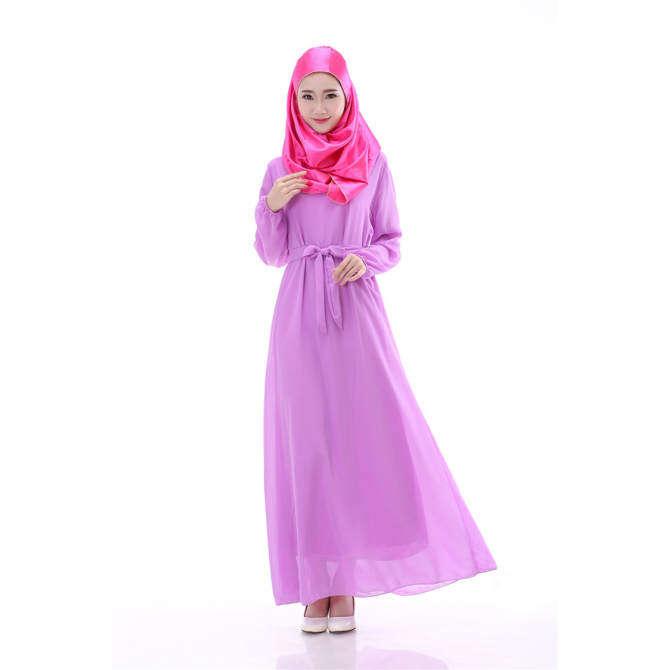 Gaya Baru Gamis Wanita Lengan Panjang Gaun Hui Minggu Pakaian Timur Tengah Fashion Gaun Sifon (Biru Dongker)