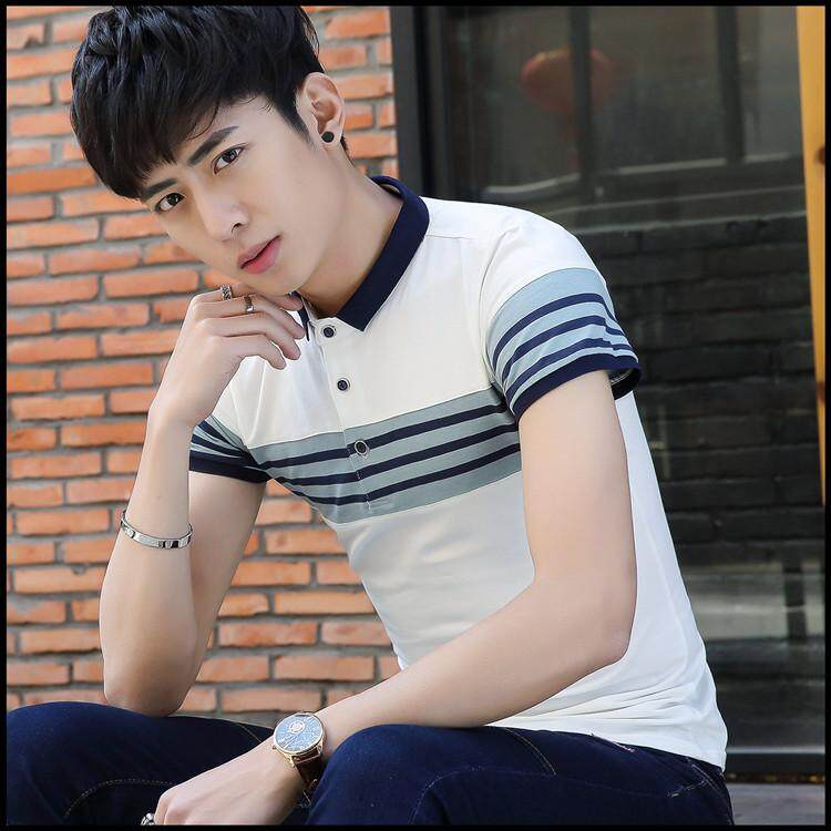 New Style Summer Men's Short-sleeved T-shirt Slim Fit Korean-style Striped Collar Short Sleeve Tide Male Youth Polo Shirt - intl
