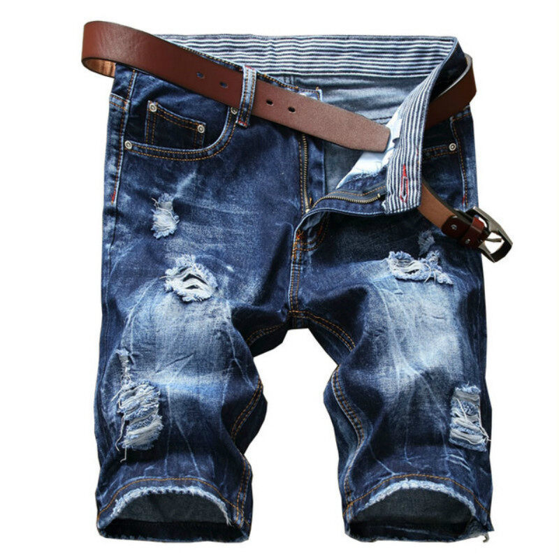 Sale New Summer Mens Jeans Ripped Denim Shorts Fashion Distressed Short Holes Jeans Pants For Male Slim Fit Cotton Washed Blue Intl China