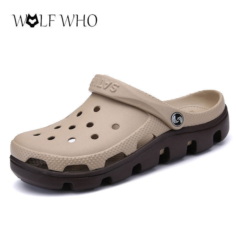 b3595caa4e24 New Summer Sandals Men Casual Shoes Mules Clogs Croc Breathable Beach  Slippers Male Water Hollow Jelly