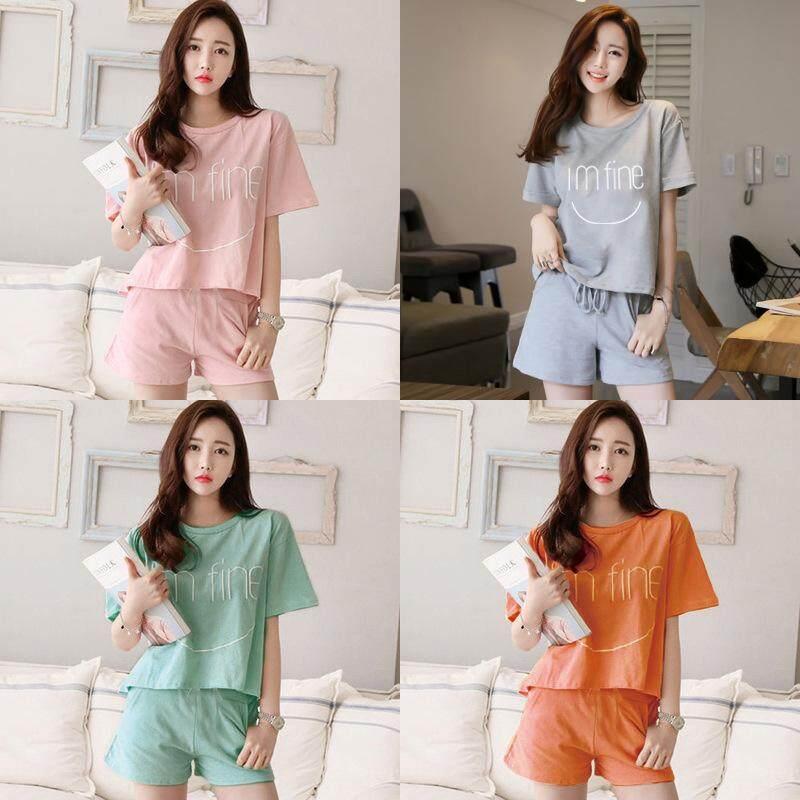 0a24aa0d0cc7 New Women Cotton Sleep   Loungewear Pajamas Sleepwear T-Shirt Tops and  Shorts 2 Pieces