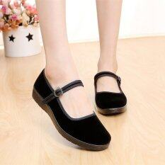 New Women Lady Chinese Mary Jane Ballerina Work Velvet Shoes Cotton Sole Flats Black By Channy.