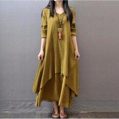 New Women Plus Size Loose Long Cotton Linen V-Neck Side Pocket Dress Long Sleeve Maxi Dress (Yellow)