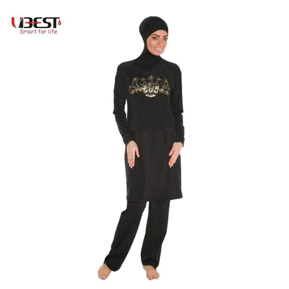 Terbaru Wanita Plus Ukuran Dicetak Bunga Baju Renang Muslim Muslimah Baju Renang Islami Berenang Berselancar Olahraga Pakaian Pakaian Hitam-Internasional