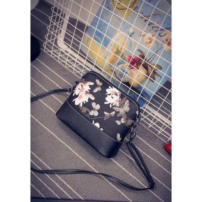 niceEshop Flower Pattern Leather Messenger Bag Crossbody Shoulder Bags For Women, Flower