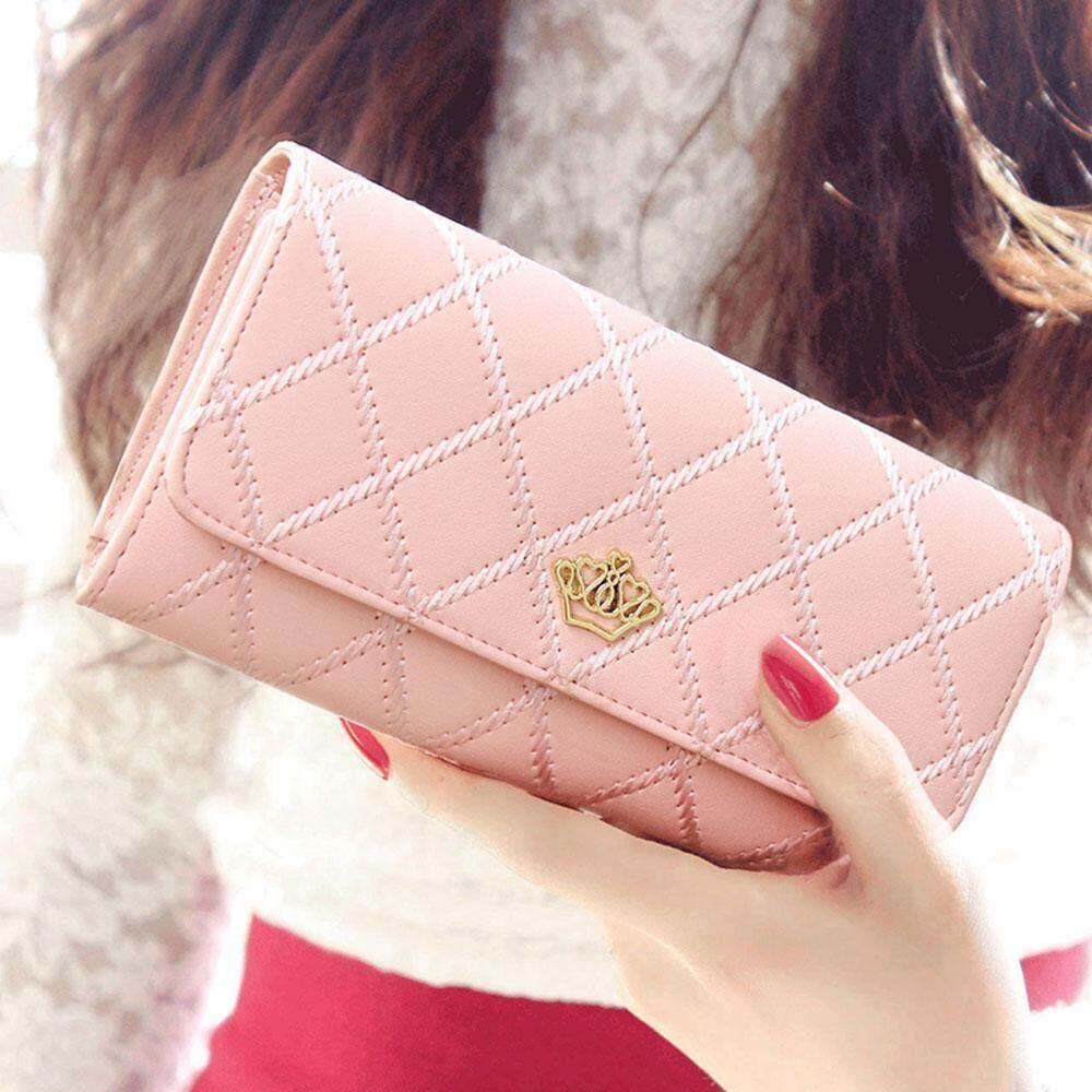 niceeshopWomen Lady Leather Clutch Wallet Long PU Card Holder Purse Long Wallet(Pink) (