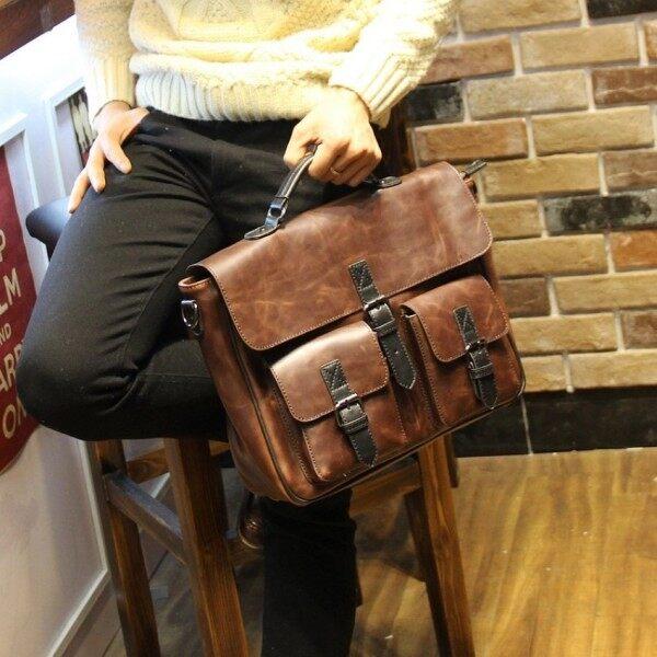 NiceTop Leather Poratable Handbag Leisure Worn High-capacity Male Bags Fashion Single Shoulder Bag for Men Crossbody Briefcase (Coffee)