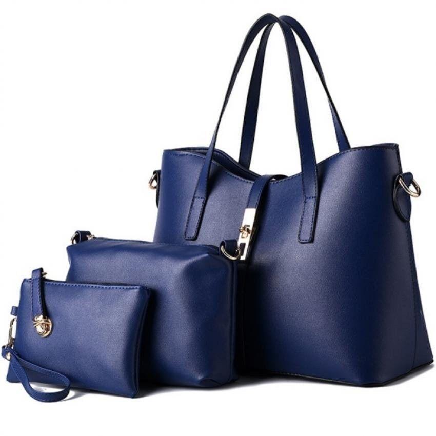 NiceTrade SKN820 Premium PU Leather Elegant Tote Bag Set of 3- Black - intl