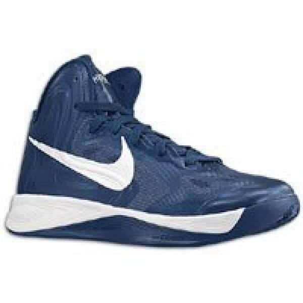 Nike Pria Hyperfuse TB Tengah Malam Navy/Putih Sepatu Basket US 10-Intl