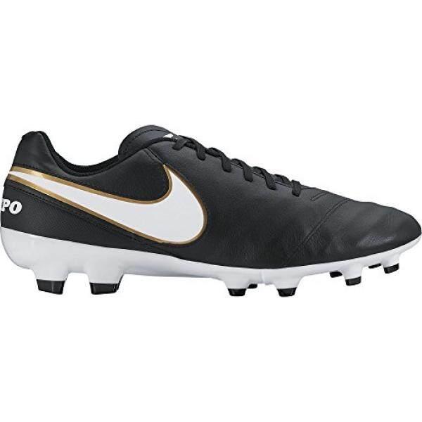 Nike Pria TIEMPO GENIO II Kulit FG Hitam/Putih/Emas Metalik Sepak Bola Cleat En Kami-Internasional
