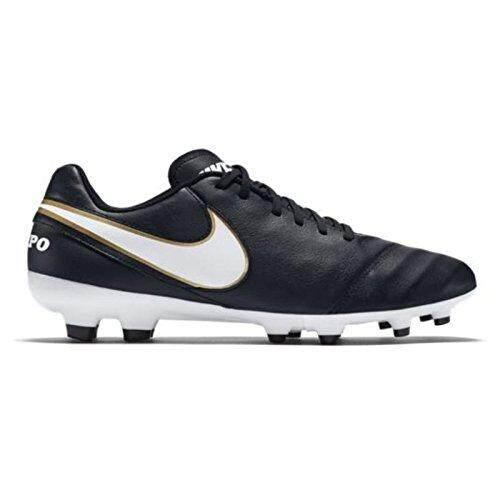 Nike Pria TIEMPO GENIO II Kulit FG Hitam/Putih/Emas Metalik Sepak Bola Cleat 8 Pria AS-Internasional