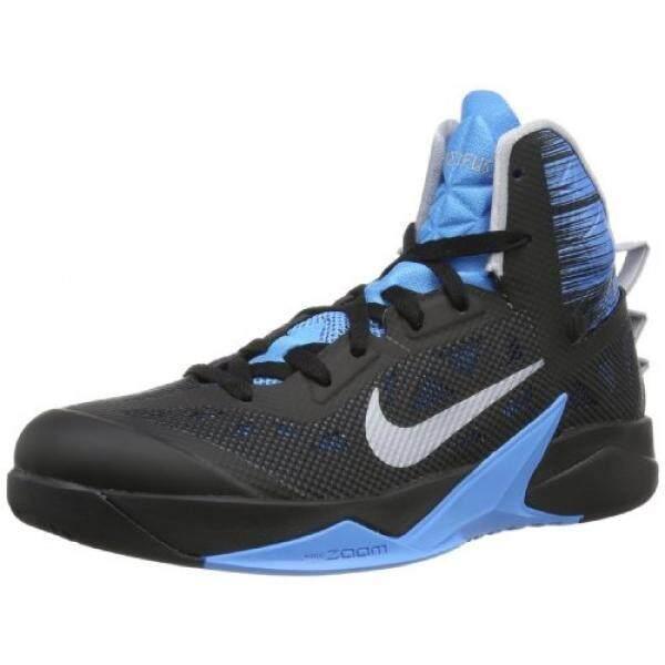 Nike Pria ZOOM Hyperfuse 2013 Hitam/Serigala Abu-abu-Hidup Biru Kami-Internasional
