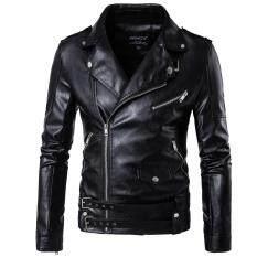 80a79abf5324d Oblique Zipper Punk PU Leather PU Leather Jacket Slim Fit Halley Motor Jacket  for Men Black